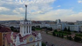 Downtown Ulan-Ude flight drone shot aerial view Russia, Buryatia. The center of the capital of Buryatia, Ulan-Ude flight drone video from a bird Russia flight stock footage