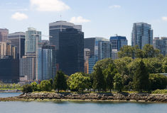 Downtown Vancouver. View from Stanley Park stock photos