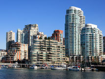 Downtown of Vancouver. View from Granvill Island royalty free stock photos