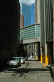 Downtown Vancouver B.C., Canada. Back alley, a feature of Vancouvers design which keeps trash containers and commercial vehicles off the main thoroughfares of stock photos