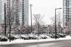 Downtown Vancouver BC, Covered in Snow, Canada royalty free stock image