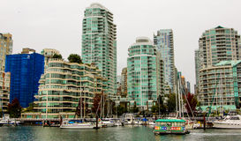 Downtown Vancouver, Britsh Columbia. High rise apartments on the waterfront of False Creek in Vancouver, BC Stock Image