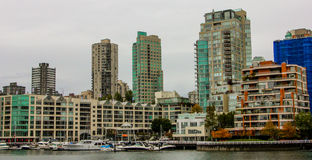 Downtown Vancouver, Britsh Columbia. High rise apartments on the waterfront of False Creek in Vancouver, BC Royalty Free Stock Images