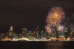 Downtown Vancouver with Canada Day fireworks stock photo