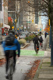 Downtown Vancouver Cycle Path Royalty Free Stock Photos