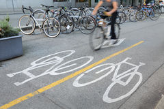 Downtown Vancouver Cycle Path Stock Photography