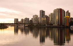 Downtown Vancouver at Dusk. Downtown Vancouver Skyline on the water at dusk Stock Image