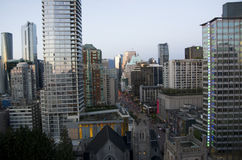 Downtown Vancouver evening light Stock Photos