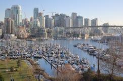 Downtown Vancouver and False Creek Marina Stock Photography