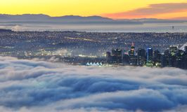 Downtown Vancouver in a foggy sunrise Royalty Free Stock Photo