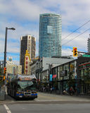 Downtown Vancouver, Granville Street at Nelson St. Stock Photos