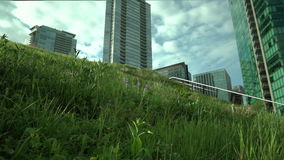Downtown Vancouver Green Roof  dolly shot 4K. UHD. A dolly shot close up of the grass on the Vancouver Convention Center's environmentally friendly, 6 stock footage
