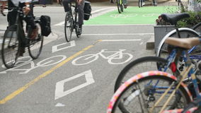 Downtown Vancouver Marked Cycle Path Stock Photography