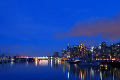 Downtown vancouver at night Royalty Free Stock Photos
