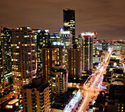 Downtown Vancouver Night. View of the Downtown Vancouver Skyline at Night down Robson St Stock Images