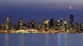 Downtown vancouver night scene Stock Photos