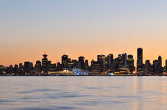 Downtown Vancouver night scene Royalty Free Stock Photos