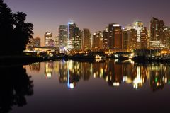 Downtown Vancouver Reflects in Coal Harbor Royalty Free Stock Photo