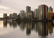 Downtown Vancouver Skyline. At dusk on the waterfront Royalty Free Stock Photography
