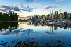 Downtown Vancouver at Sunset in Summer royalty free stock image