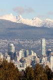 Downtown Vancouver Towers and Mountains Royalty Free Stock Photos