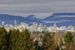Downtown Vancouver view from Queen Elizabeth Park Royalty Free Stock Photo