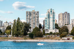 Downtown Vancouver view from Vanier Park in Vancouver, Canada stock photography
