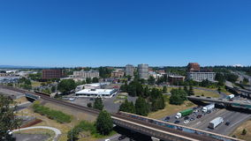 Downtown Vancouver Washington From Near The I-5 Bridge Looking North. Aerial drone photo of downtown Vancouver, WA on a beautiful sunny day stock images