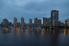 Downtown Vancouver. Waterfront And Skyline At Dusk royalty free stock photography