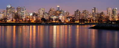 Downtown Vancouver on a winter evening Stock Image