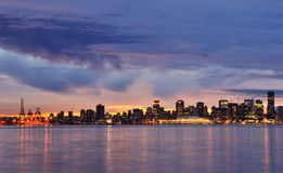 Downtown Vancouver Winter Sunset Royalty Free Stock Photos