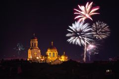 Downtown Varna cityscape with many flashing fireworks celebratin Stock Photography