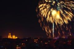 Downtown Varna cityscape with many flashing fireworks celebratin Stock Photo