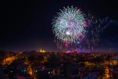 Downtown Varna cityscape with many flashing fireworks celebratin Royalty Free Stock Photography