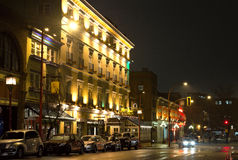 Downtown Victoria at night. Swans Hotel on Government street in Victoria BC Canada at night Royalty Free Stock Photo