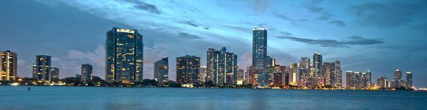 Downtown miami. View of downtown Miami from the rickenbacker royalty free stock photography