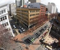 Downtown View. An elevated view of downtown Portland, OR. Public transportation runs through the business district Royalty Free Stock Photo