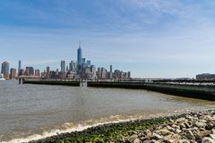 Downtown view of Manhattan taken fron New Jersey side over the Hudson River royalty free stock image