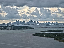 Downtown view of miami. View of downtown miami behind biscayne bay stock photo