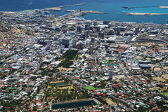 Downtown view from Table Mountain. Cape Town, West Stock Photo