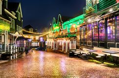 Downtown of Volendam in the Christmas night stock photos