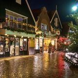 Downtown of Volendam in the Christmas night royalty free stock images