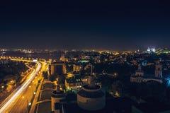 Downtown of Voronezh city in the night, Chernavsky bridge Stock Photos