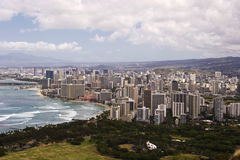 Downtown Waikiki as seen from atop Diamond Head Cr. View of Waikiki from atop Diamond Head Crater Royalty Free Stock Photo
