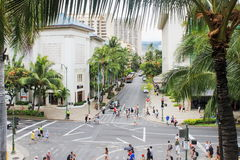 Downtown Waikiki, bustling with locals and tourists Stock Photo