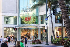 Downtown Waikiki outside the Waikiki Business Plaza. Honolulu, Hawaii, USA - May 30, 2016 - Busy Waikiki Shopping Area outside the Waikiki Business Plaza stock image