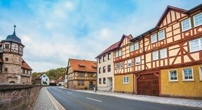 The downtown of Wasungen in Thuringia Germany. On October 27, 2018 stock images