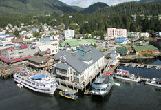 Downtown Waterfront, Ketchikan, Alaska. Ketchikan offers multiple options - air, boats, kayaks for touring the waters around this beautiful Alaskan city Royalty Free Stock Image