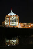 Downtown Wausau at Night. Wausau's downtown landscape of buildings reflecting in the river at night Stock Photography