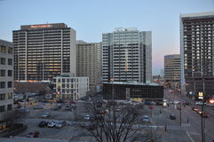 Downtown of Winnipeg in the evening. View on the streets of Winnipeg City, Manitoba province, Canada. The photo was taken in November 2013 royalty free stock photos